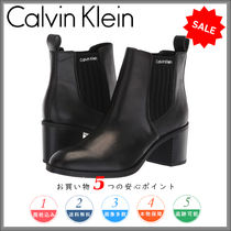 Calvin Klein Round Toe Plain Leather Block Heels Chelsea Boots