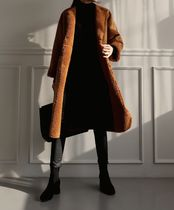 Casual Style Plain Long Fur Leather Jackets Coats
