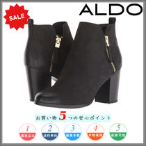 ALDO Round Toe Plain Leather Elegant Style Chunky Heels