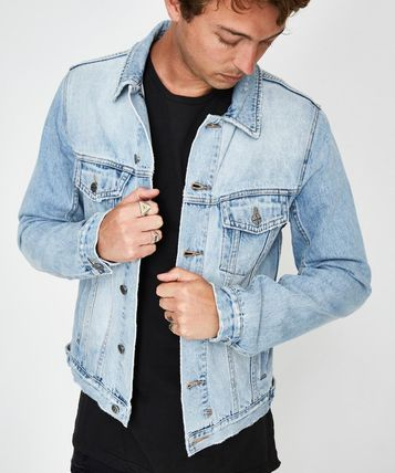 Denim Street Style Plain Denim Jackets Jackets