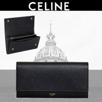 CELINE Calfskin Plain Long Wallets