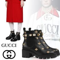 GUCCI Star Round Toe Rubber Sole Casual Style Blended Fabrics