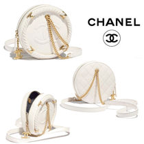 CHANEL Calfskin Chain Shoulder Bags