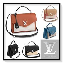 Louis Vuitton LOCKME Blended Fabrics 2WAY Plain Leather Elegant Style Handbags