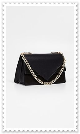 2WAY Chain Plain Leather Elegant Style Crossbody