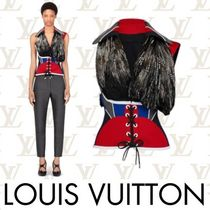 Louis Vuitton Short Lace-up Nylon Blended Fabrics V-Neck With Jewels