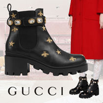 GUCCI Star Casual Style Leather Block Heels With Jewels