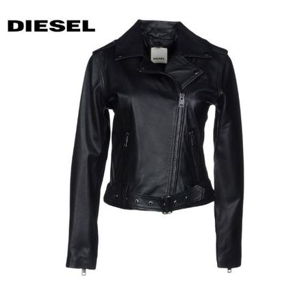 Casual Style Street Style Plain Leather Biker Jackets
