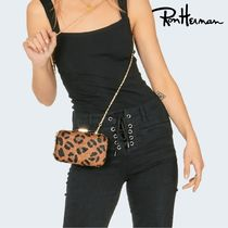 Ron Herman Leopard Patterns Leather Handmade Elegant Style Clutches