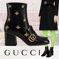 GUCCI Star Leather Block Heels Fringes Elegant Style