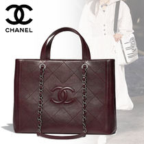 CHANEL 2WAY Chain Plain Elegant Style Totes