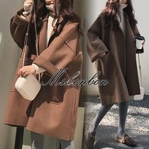 Casual Style Plain Medium Wrap Coats