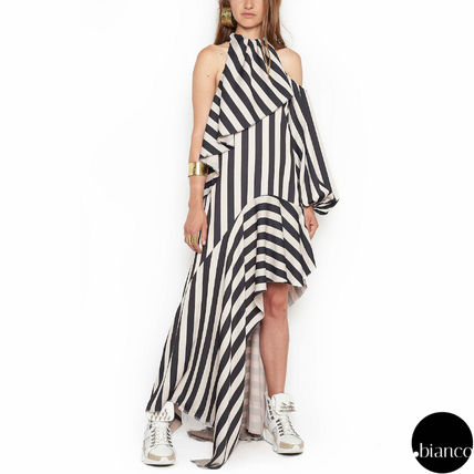 Stripes Long Elegant Style Dresses