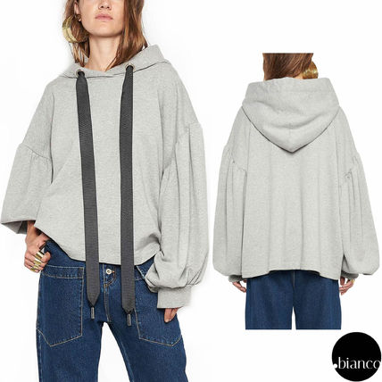 Sweat Plain Oversized Puff Sleeves Hoodies & Sweatshirts