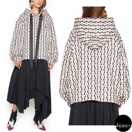 Flower Patterns Sweat Oversized Puff Sleeves