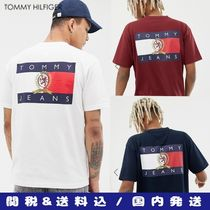 Tommy Hilfiger Crew Neck Unisex Street Style Plain Cotton Short Sleeves