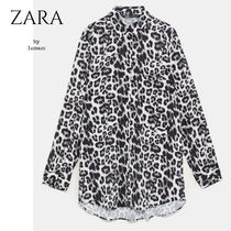 ZARA Leopard Patterns Casual Style Long Sleeves Shirts & Blouses
