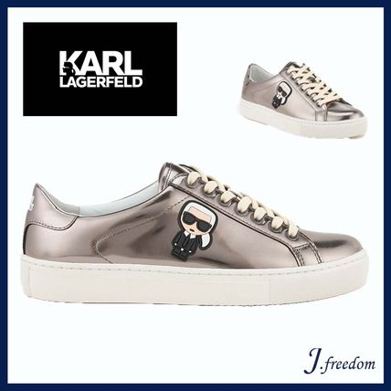 Rubber Sole Lace-up Casual Style Leather Low-Top Sneakers