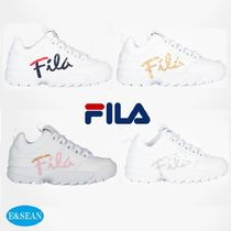 FILA Lace-up Casual Style Plain Low-Top Sneakers