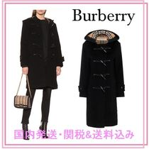 Burberry Casual Style Wool Blended Fabrics Plain Long Duffle Coats