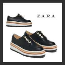 ZARA Platform Plain Toe Casual Style Bi-color Plain