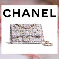 CHANEL Other Check Patterns Chain Elegant Style Handbags