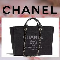 CHANEL Calfskin A4 2WAY Chain Plain Elegant Style Totes