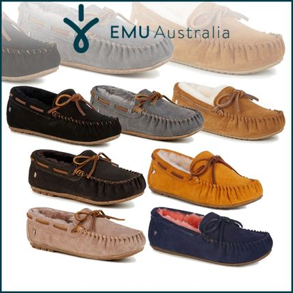 Moccasin Rubber Sole Casual Style Suede Plain Flats