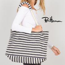 Ron Herman Stripes Casual Style A4 Handmade Totes