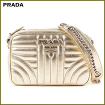 PRADA DIAGRAMME Casual Style Chain Plain Leather Shoulder Bags