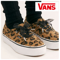 VANS AUTHENTIC Leopard Patterns Platform Lace-up Casual Style Unisex