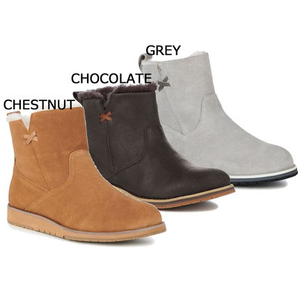 Rubber Sole Casual Style Suede Plain Ankle & Booties Boots