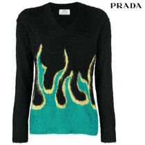 PRADA Casual Style Rib V-Neck Long Sleeves Medium Sweaters