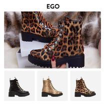 EGO Leopard Patterns Round Toe Casual Style Faux Fur