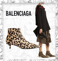 BALENCIAGA Leopard Patterns Leather Ankle & Booties Boots