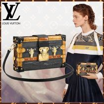 Louis Vuitton PETITE MALLE Monogram Canvas Blended Fabrics Studded 2WAY Bi-color