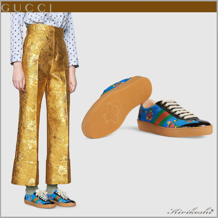 GUCCI Low-Top Stripes Flower Patterns Plain Toe Casual Style Street Style