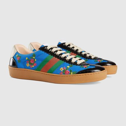 GUCCI Low-Top Stripes Flower Patterns Plain Toe Casual Style Street Style 3