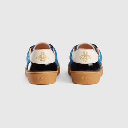 GUCCI Low-Top Stripes Flower Patterns Plain Toe Casual Style Street Style 5