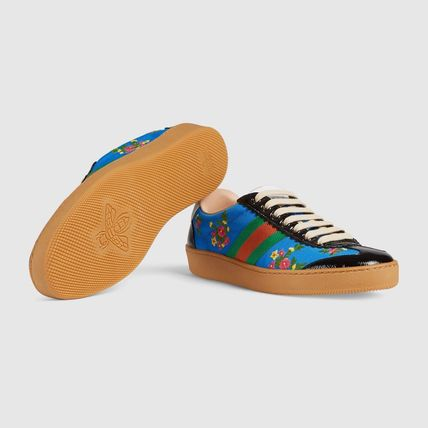 GUCCI Low-Top Stripes Flower Patterns Plain Toe Casual Style Street Style 7