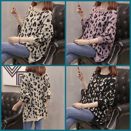 More Knitwear Cable Knit Leopard Patterns Casual Style U-Neck Long Sleeves