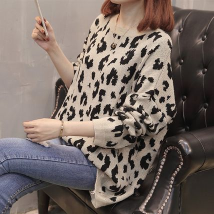 More Knitwear Cable Knit Leopard Patterns Casual Style U-Neck Long Sleeves 2