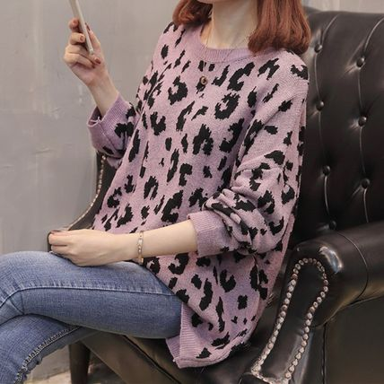 More Knitwear Cable Knit Leopard Patterns Casual Style U-Neck Long Sleeves 3