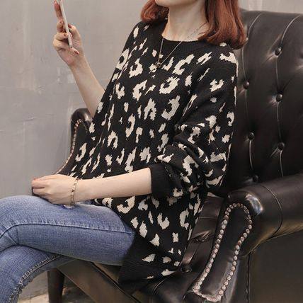 More Knitwear Cable Knit Leopard Patterns Casual Style U-Neck Long Sleeves 4