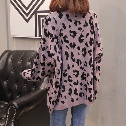 More Knitwear Cable Knit Leopard Patterns Casual Style U-Neck Long Sleeves 6