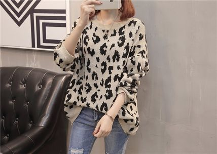 More Knitwear Cable Knit Leopard Patterns Casual Style U-Neck Long Sleeves 7