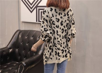 More Knitwear Cable Knit Leopard Patterns Casual Style U-Neck Long Sleeves 8