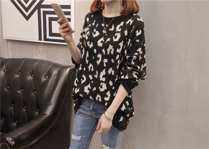 More Knitwear Cable Knit Leopard Patterns Casual Style U-Neck Long Sleeves 9