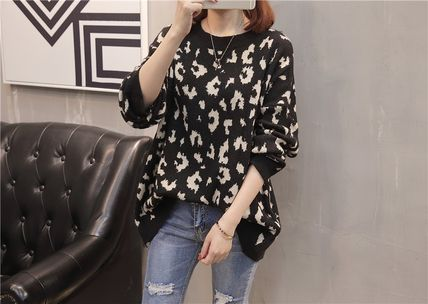 More Knitwear Cable Knit Leopard Patterns Casual Style U-Neck Long Sleeves 10