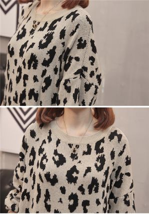 More Knitwear Cable Knit Leopard Patterns Casual Style U-Neck Long Sleeves 11